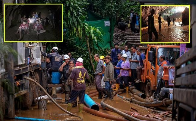 Four boys rescued from Thai cave but rest must wait as air tanks are replenished - Sakshi