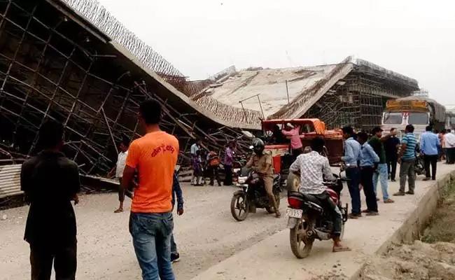 Under Construction Flyover Collapses On UP Highway - Sakshi