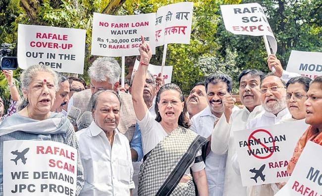 Sonia Gandhi leads opposition protest against Rafale deal - Sakshi