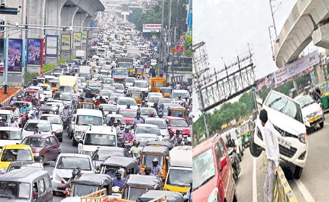 Three hours Traffic Jam On Begumpet Flyover Bridge Hyderabad - Sakshi