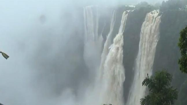 ndia's tallest waterfall a sight to behold after heavy rain in Karnataka - Sakshi