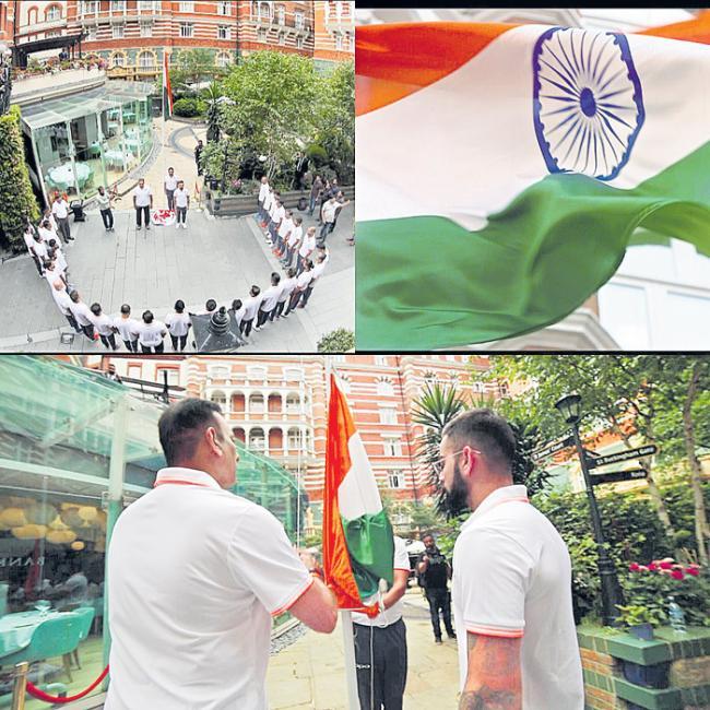 Independence Day 2018: Virat Kohli & Co hoist national flag in London - Sakshi