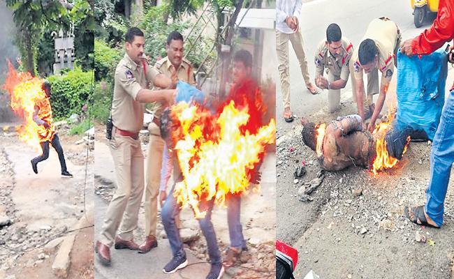 Man Suicide Attempt Infront Of Banjarahills Police Station Hyderabad - Sakshi