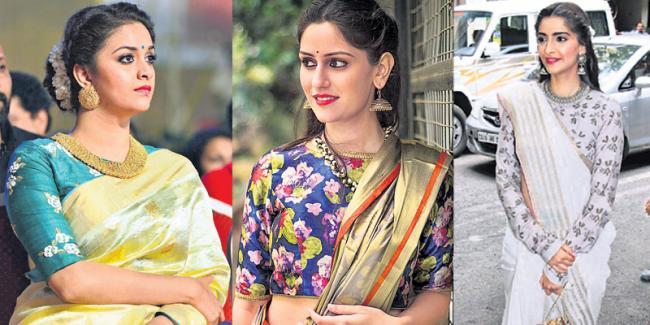 Embroidery sari's with Blouse - Sakshi