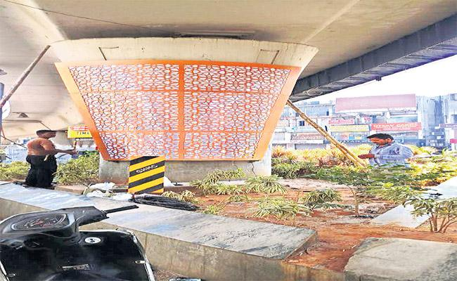Hyderabad Flyovers Repairs Workers - Sakshi