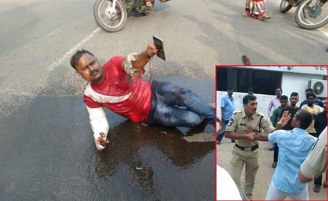 Drunken Man Attack On Police Constable In Visakhapatnam - Sakshi