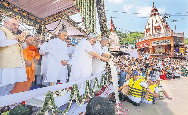 Atal Bihari Vajpayee Asses Immersed In Ganga River - Sakshi
