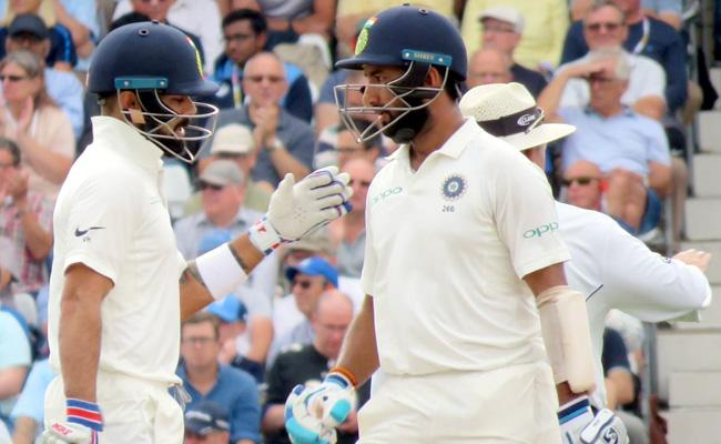 Kohli And Pujara Half Centuries In 3rd Test Against England - Sakshi
