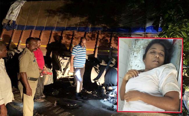 Woman Died In Lorry Accident Guntur - Sakshi