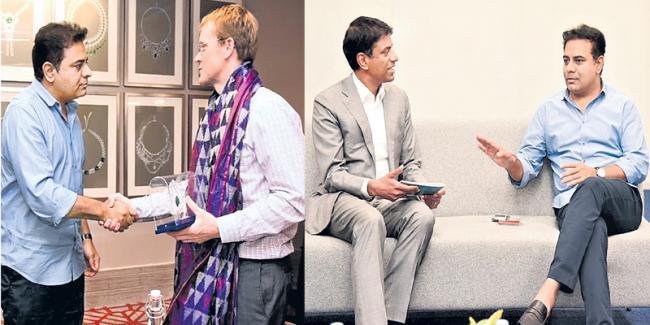 WhatsApp, Novartis CEOs, Facebook official meet KTR - Sakshi