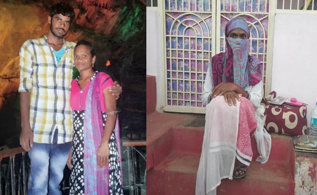 Wife Silence Protest Infront Of Husband House Prakasam - Sakshi