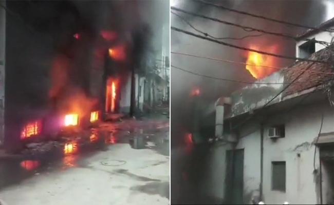 Fire broke at factory of plastic bags in Delhi - Sakshi