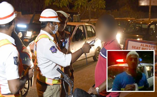Hyderabad Police Drunk and Drive Twist Rider Get False Reading - Sakshi