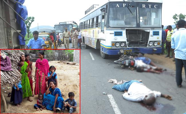 Two Men Died In Bike And Bus Accident Guntur - Sakshi