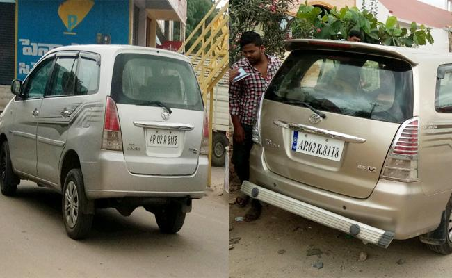 Same Numbers On Two Innova Cars in Anantapur - Sakshi