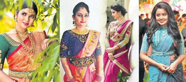 New fashion to Saree with Blouse - Sakshi