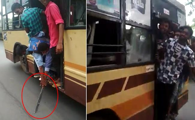 Chennai Students Halchal in Busses - Sakshi