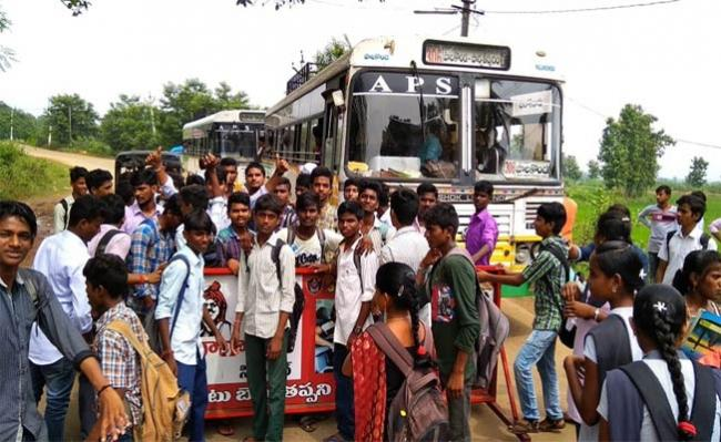 Students Protest For Buses - Sakshi