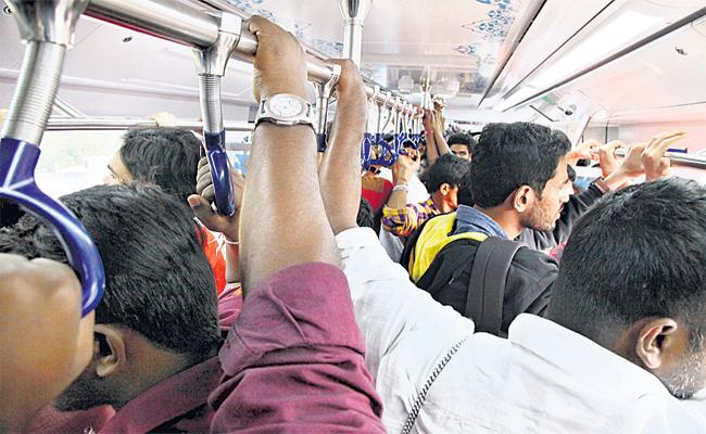 Hyderabad City People Safe Journey In Metro Train - Sakshi