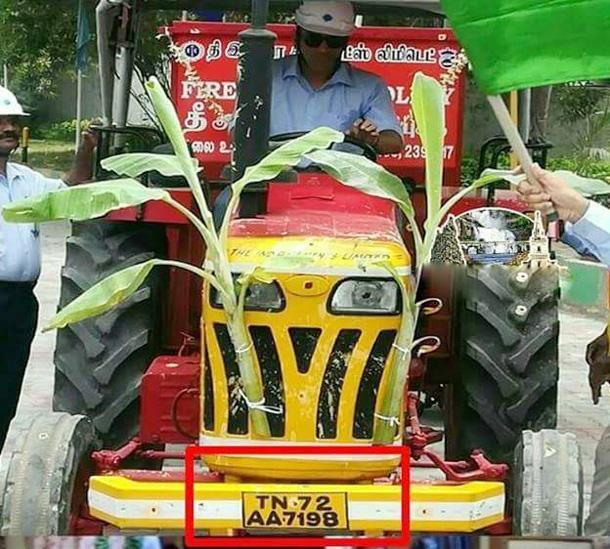 MS Dhoni Drives Tractor In Tamilnadu - Sakshi