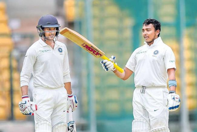 Mayank Agarwal, Prithvi Shaw hammer South Africa A on Day 2 - Sakshi