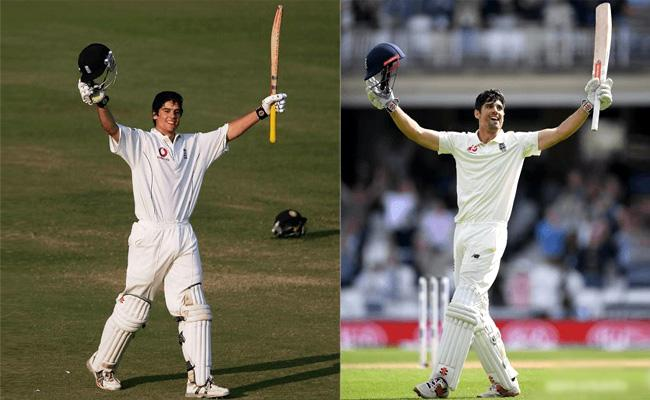 Alastair Cook Hundred in His first Test And Last Test Against India - Sakshi
