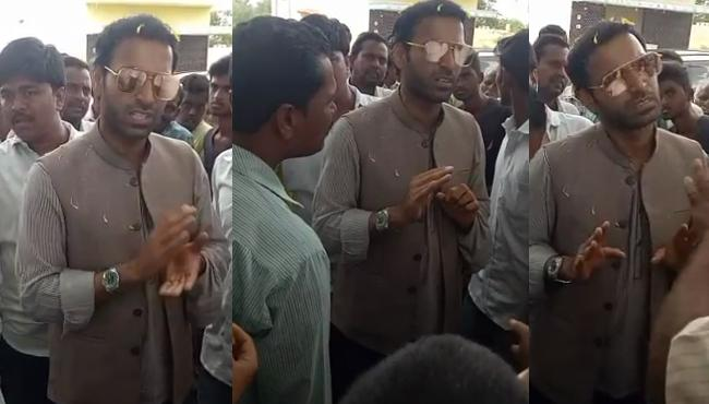 JC Diwakar reddy Son Fires On Village Youth Over Asking Unemployment - Sakshi