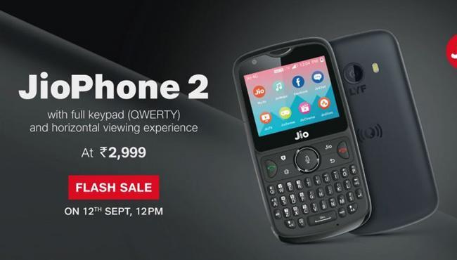 JioPhone 2 flash sale starts today at 12pm - Sakshi