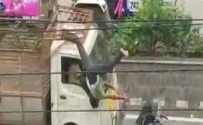 Biker Thrown In Air After Bike Accident In Hyderabad - Sakshi