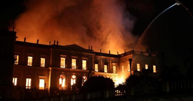 Brazil's National Museum Engulfed By Massive Fire - Sakshi
