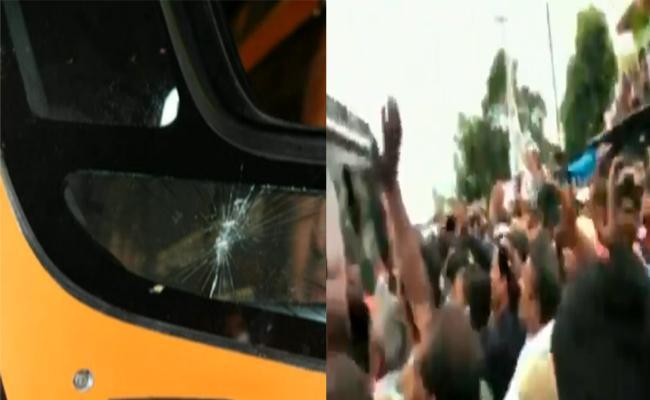 Stone Thrown On Shivraj singh Chauhan Vehicle At Churhat - Sakshi