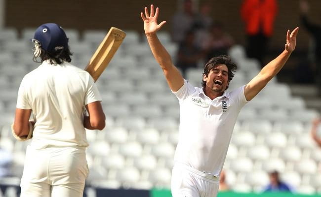 Alastair Cook dismissed Ishant Sharma to take his First wicket - Sakshi