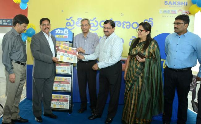 Sakshi News Paper in Hyderabad Metro Stations