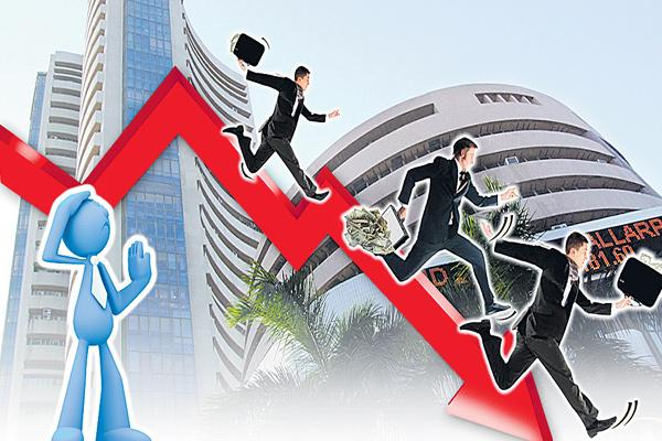 Sensex extends losing streak on FPI outflows, rupee slump - Sakshi