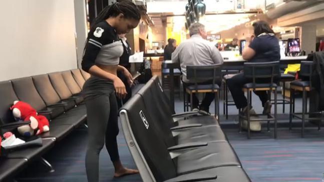 Shemika Charles Gravity Defying Limbo Video At Philadelphia Airport - Sakshi