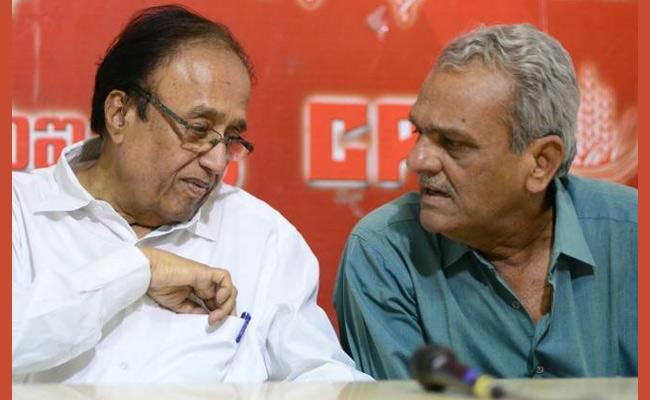 CPI Leaders Narayana And Suravaram Slams KCR In Delhi - Sakshi