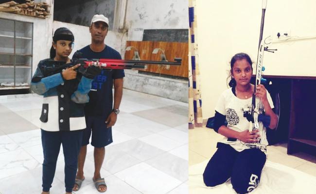 Harshitha Select In National Team For Raifil Shooting - Sakshi