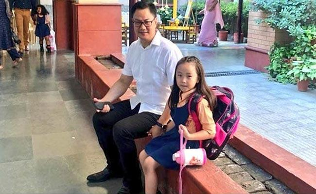 Kiren Rijiju Shares A Video How His Daughter Convinced Him To Attend her School - Sakshi