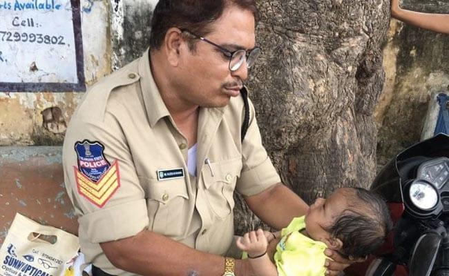 Hyderabad Cop Console A Baby While Her Mother Went For Constable Exam - Sakshi
