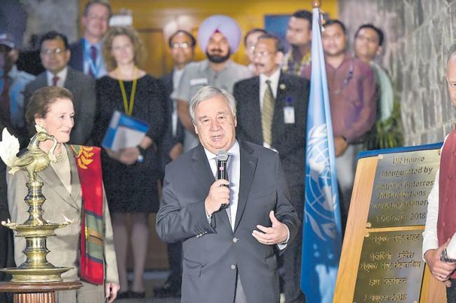 UN chief Antonio Guterres arrives on maiden India visit - Sakshi