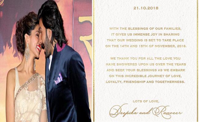 Deepika Padukone Shares Her Wedding Card - Sakshi