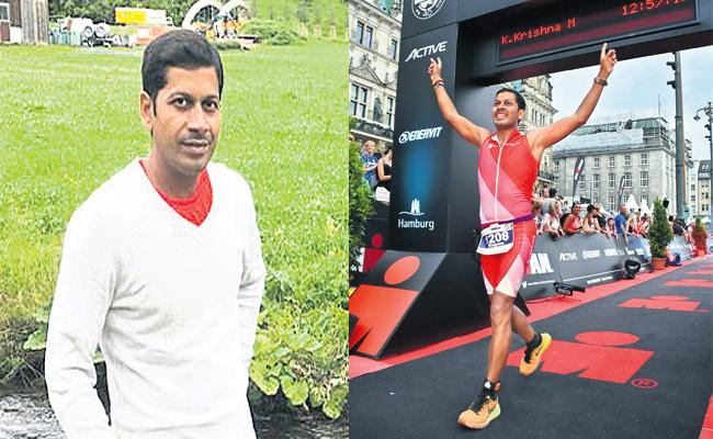 YSR Kadapa person Won Triathlon In Germany - Sakshi