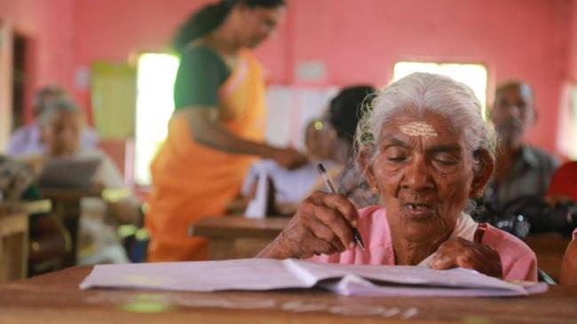 96 Year Old Kerala Woman Tops Literacy Mission Exam - Sakshi