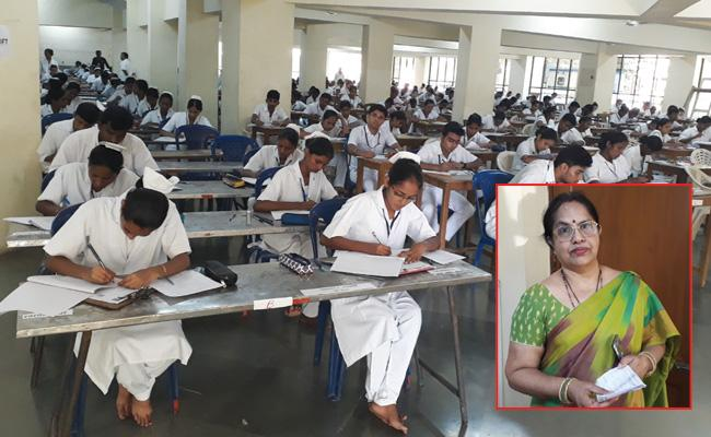 Nursing Students Mass Copying In Exams Guntur - Sakshi