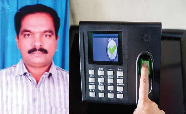Teacher Leave School After Biometric Punch In School Anantapur - Sakshi