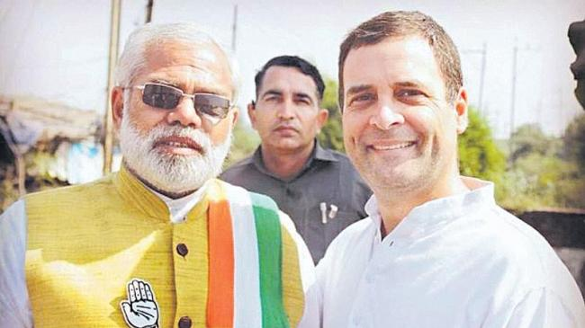 Narendra Modi lookalike Abhinandan Pathak campaigns for Congress - Sakshi