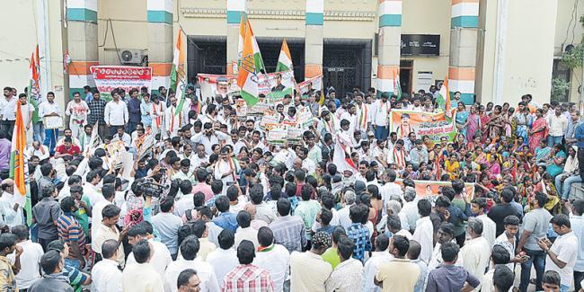 Gandhi Bhavan turns a venue for protests - Sakshi