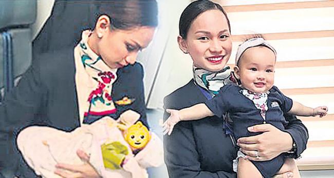 Passenger runs out of formula milk, flight attendant breastfeeds her baby - Sakshi