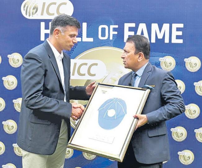 Rahul Dravid formally inducted into ICC Hall of Fame - Sakshi