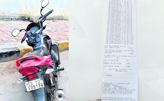 Traffic Police Bike Seized Traffic Rules Breaking in Hyderabad - Sakshi